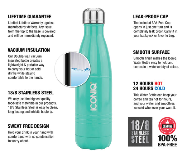 ICONIQ 17oz Lush Green Water Bottle - Stainless Steel Vacuum Insulated - 1