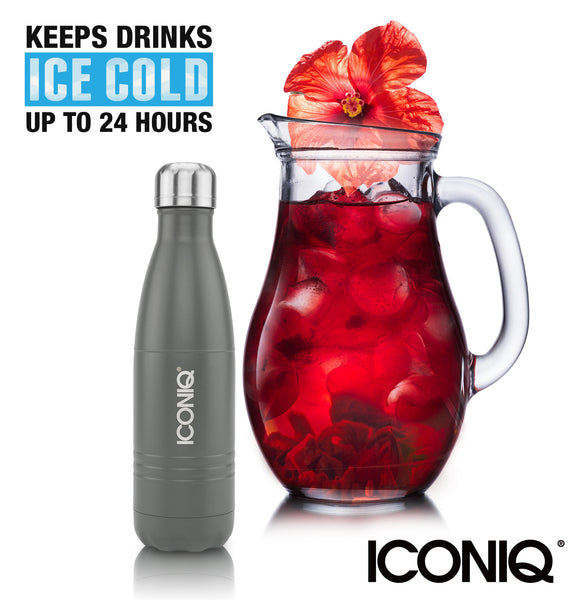 ICONIQ 17oz Dark Grey Water Bottle  - Stainless Steel Vacuum Insulated - ice cold