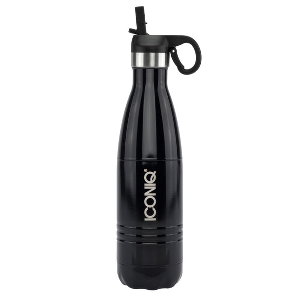 ICONIQ 17oz Jet Black Water Bottle with Straw Cap - Stainless Steel Vacuum Insulated