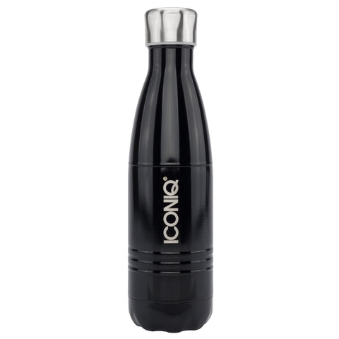 ICONIQ 17oz Jet Black Water Bottle - Stainless Steel Vacuum Insulated