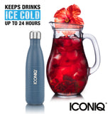 ICONIQ 17oz Navy Blue Water Bottle - Stainless Steel Vacuum Insulated