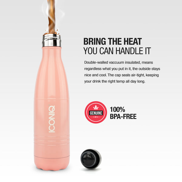 ICONIQ 17oz Peach Water Bottle - Stainless Steel Vacuum Insulated