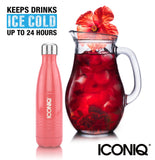 ICONIQ 17oz Rose Coral Water Bottle - Stainless Steel Vacuum Insulated