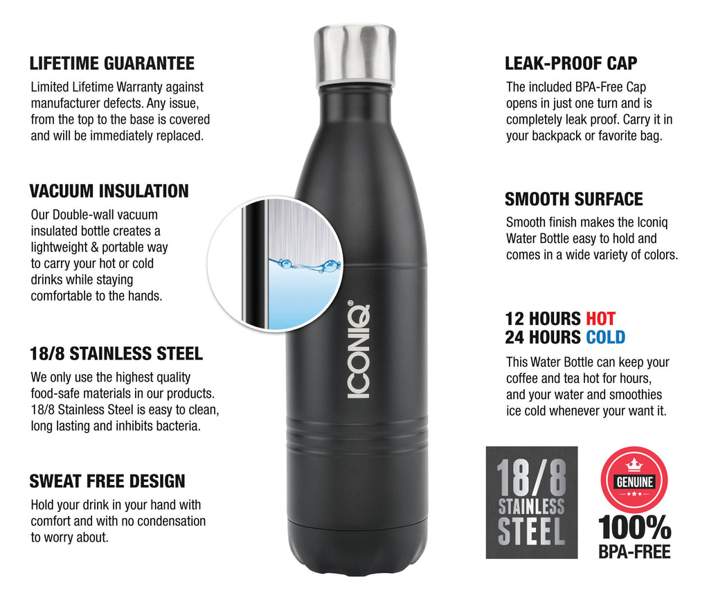 ICONIQ 25OZ SUPER-GRIP BLACK WATER BOTTLE - STAINLESS STEEL VACUUM INSULATED