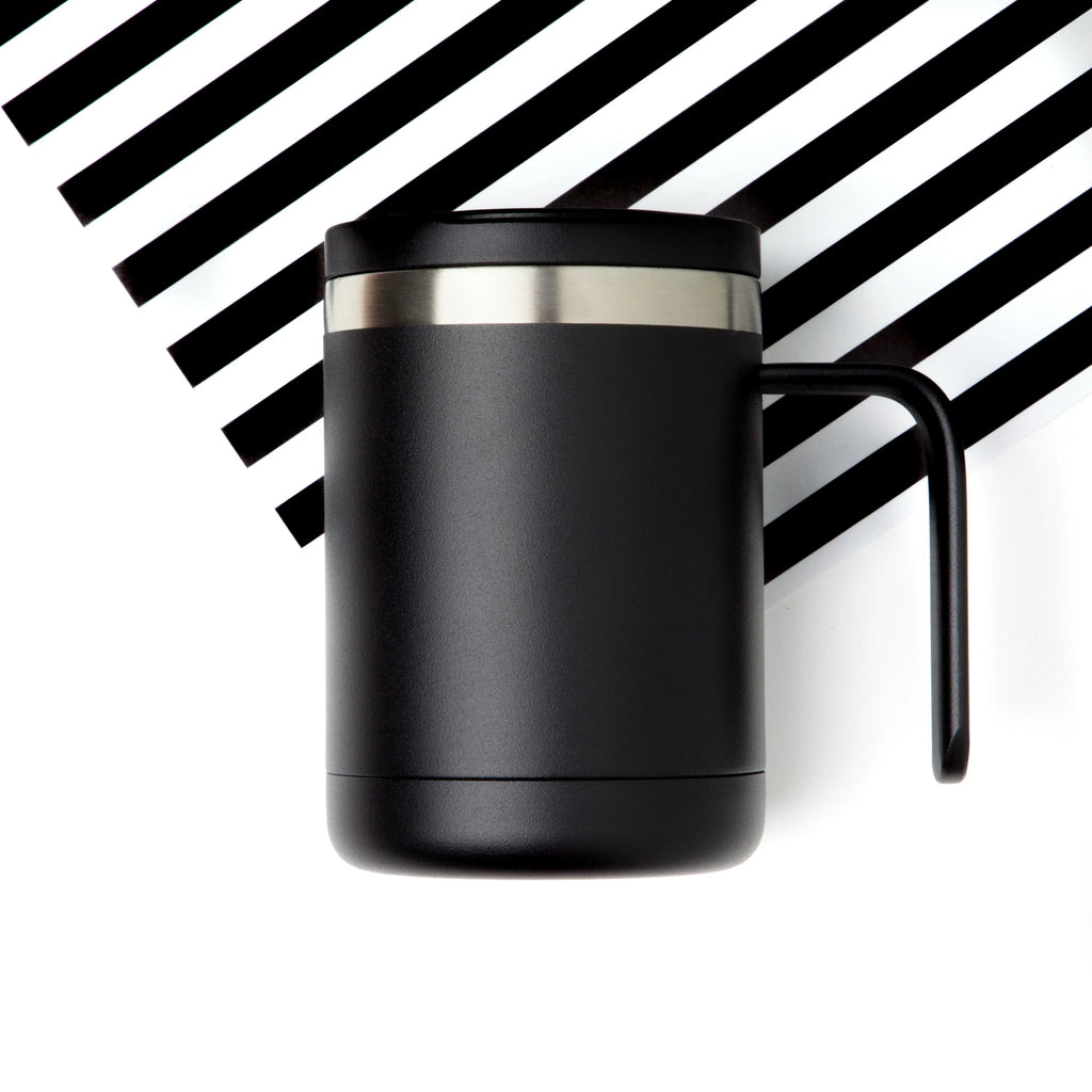 12oz Cafe Mug with Lid - Black