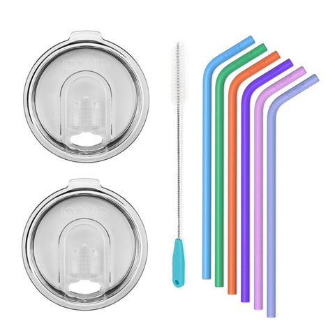 ICONIQ Re-Usable Silicone Straws with Cleaning Brush - Pack of 6 - Small Straws + 2 20oz Replacement Lids - Clear - Compatible with 20 Ounce Tumblers