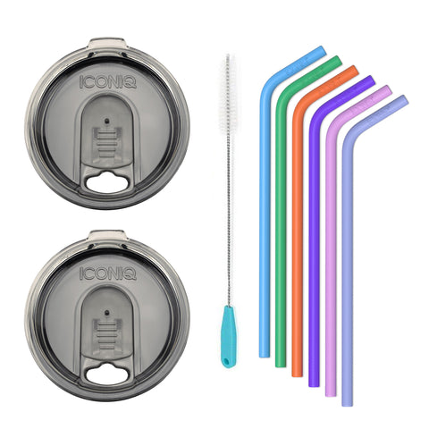 ICONIQ Re-Usable Silicone Straws with Cleaning Brush - Pack of 6 - Small Straws + 2 20oz Replacement Lids - Smoke - Compatible with 20 Ounce Tumblers