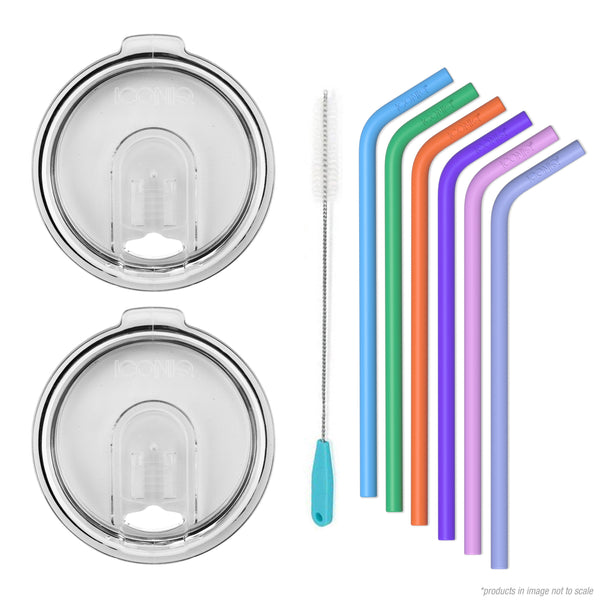 ICONIQ Re-Usable Silicone Straws with Cleaning Brush - Pack of 6 - Large Straws + 2 30oz Replacement Lids - Clear - Compatible with 30 Ounce Tumblers