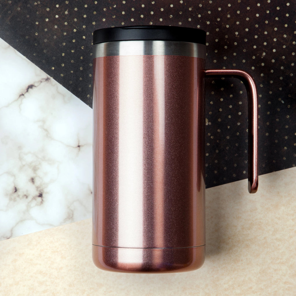 20oz Cafe Mug with Lid - Rose Gold