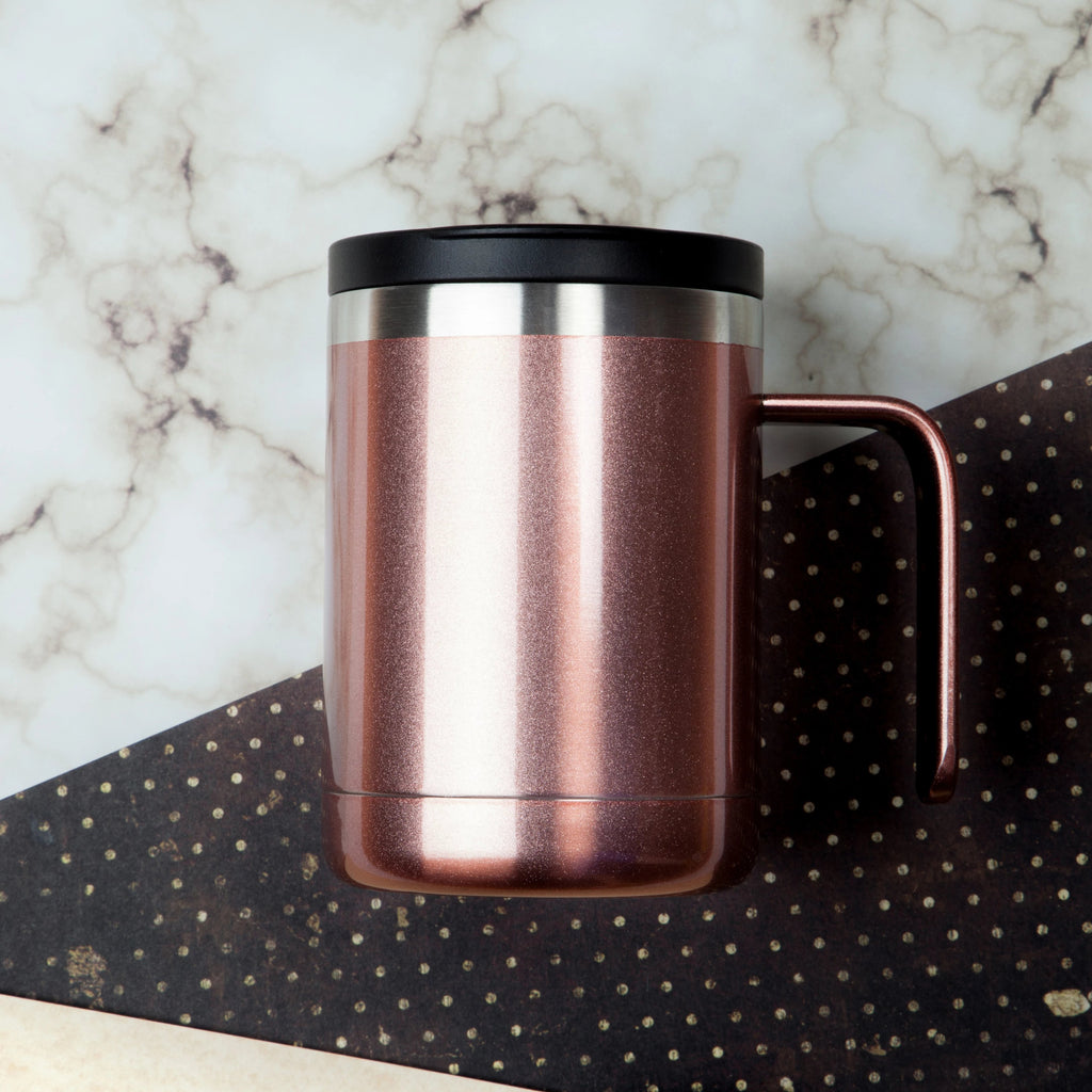 12oz Cafe Mug with Lid - Rose Gold