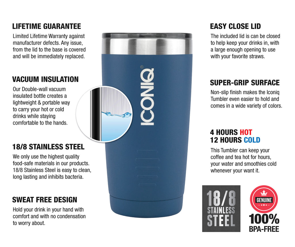 ICONIQ 20oz Stainless Steel Vacuum Insulated Tumbler descriptions