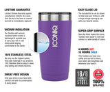 ICONIQ 20oz Purple Stainless Steel Vacuum Insulated Tumbler descriptions