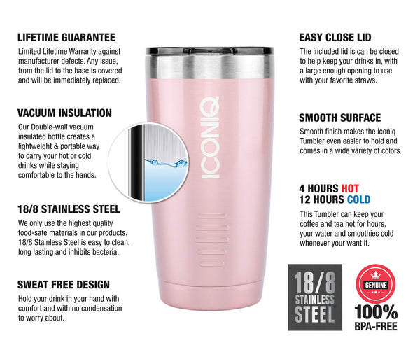 ICONIQ 20oz Rose Gold Tumbler - Stainless Steel Vacuum Insulated - Retractable Lid