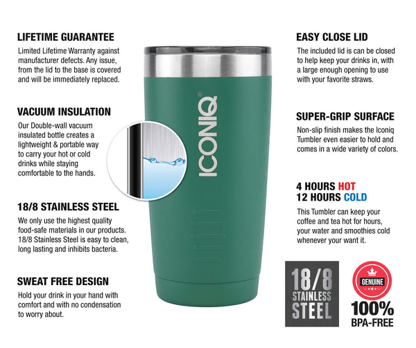 ICONIQ 20oz Green Stainless Steel Vacuum Insulated Tumbler descriptions