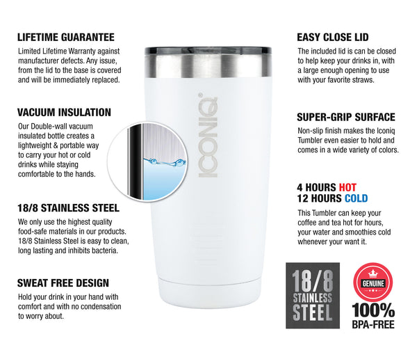 ICONIQ 20oz White Stainless Steel Vacuum Insulated Tumbler descriptions