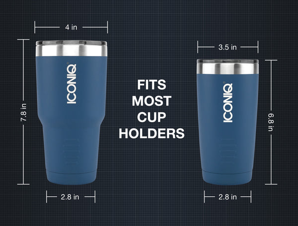 ICONIQ 20oz Tumbler 2-Pack - Black and Blue - Stainless Steel Vacuum Insulated - Retractable Lid