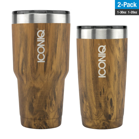 ICONIQ 30oz/20oz Oak Tumbler 2-Pack - Stainless Steel Vacuum Insulated - Retractable Lid