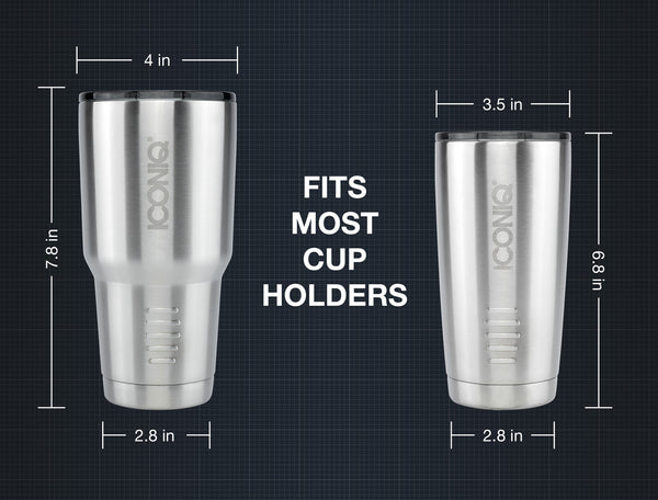 Iconiq 30 oz Stainless Steel Tumbler dimensions