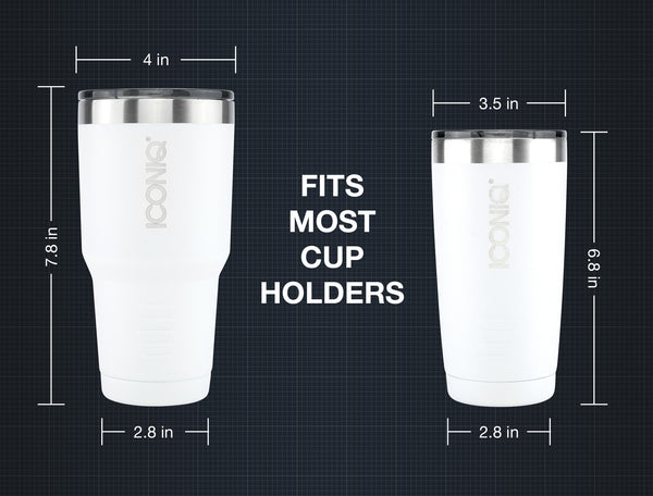 ICONIQ 20oz & 30oz White Tumbler dimensions