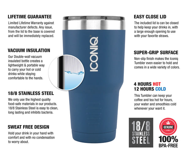 ICONIQ 30oz Tumbler 2-Pack - Blue and Green - Stainless Steel Vacuum Insulated - Retractable Lid