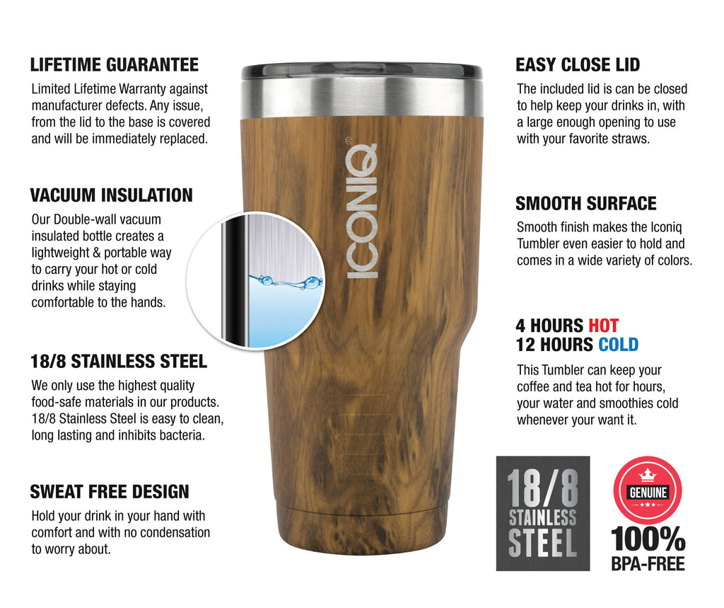 Iconiq 30 oz Oak Stainless Steel Tumbler description