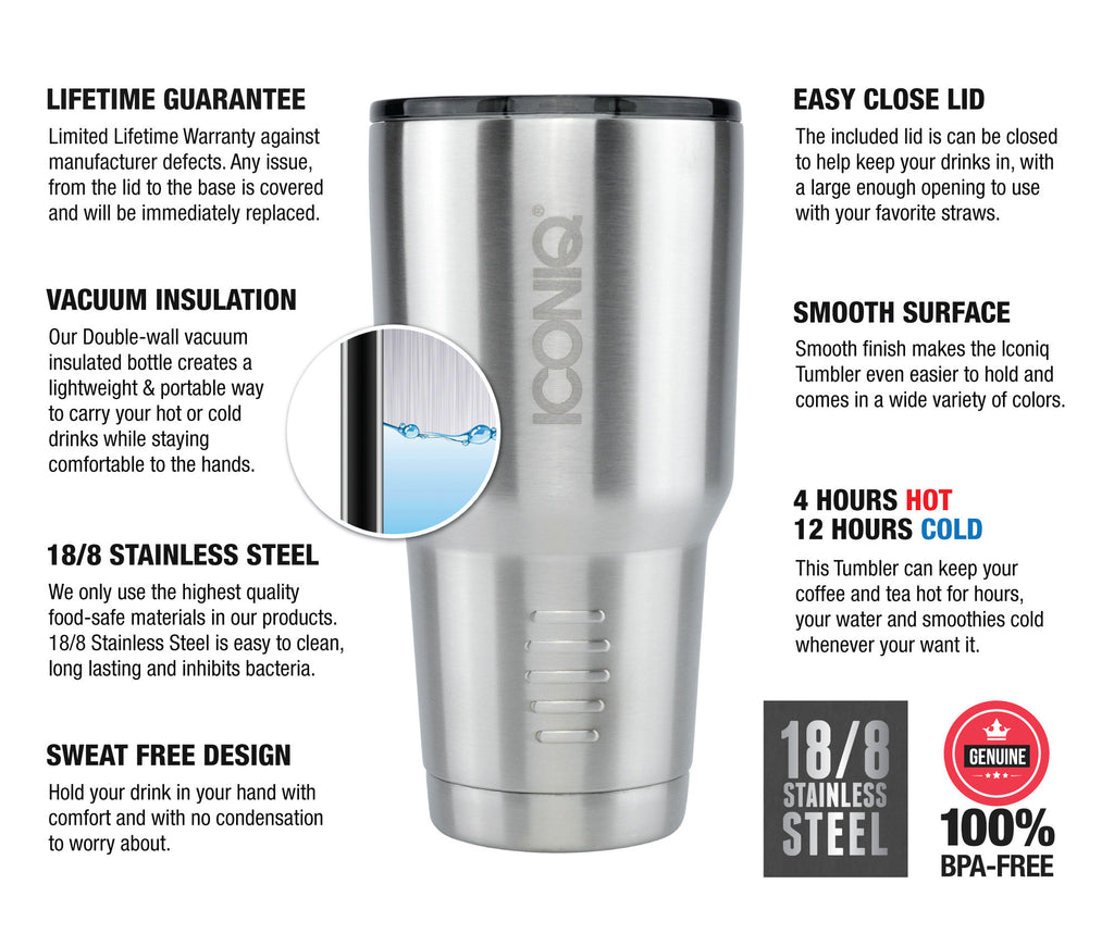 Iconiq 30 oz Stainless Steel Tumbler description