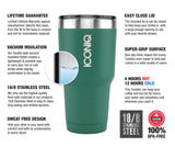 ICONIQ 30oz Green Stainless Steel Vacuum Insulated Tumbler descriptions