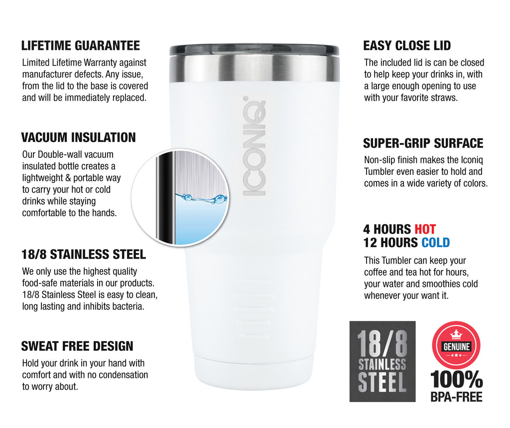 ICONIQ 30oz White Stainless Steel Vacuum Insulated Tumbler descriptions