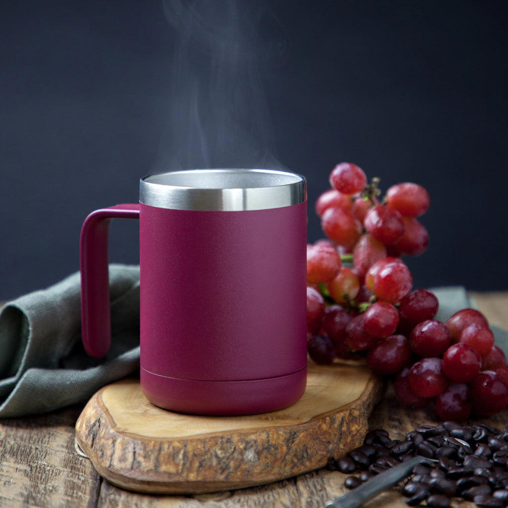 12oz Cafe Mug with Lid - Wine