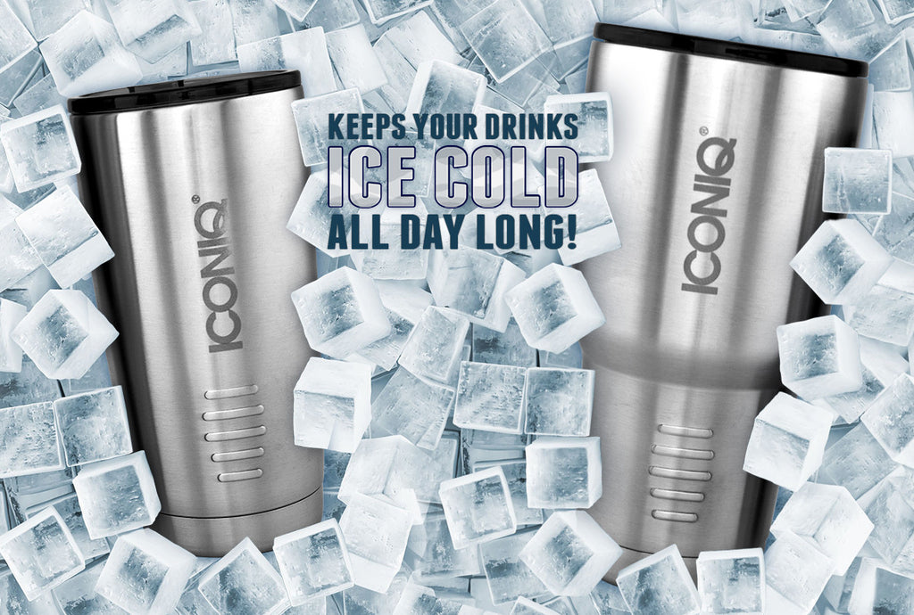 ICONIQ Dual Pack Stainless Steel Vacuum Insulated Tumbler 20 oz Rose Gold + 30 oz Blue