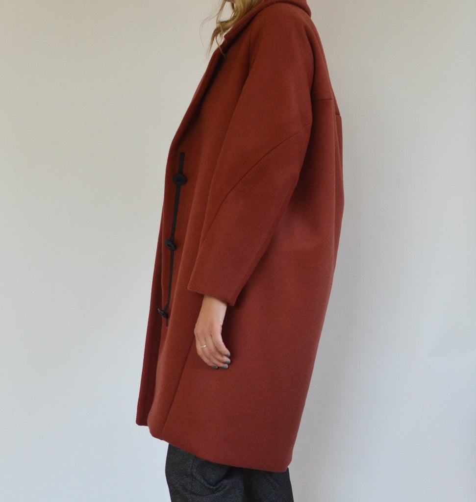 ELENA brick wool coat