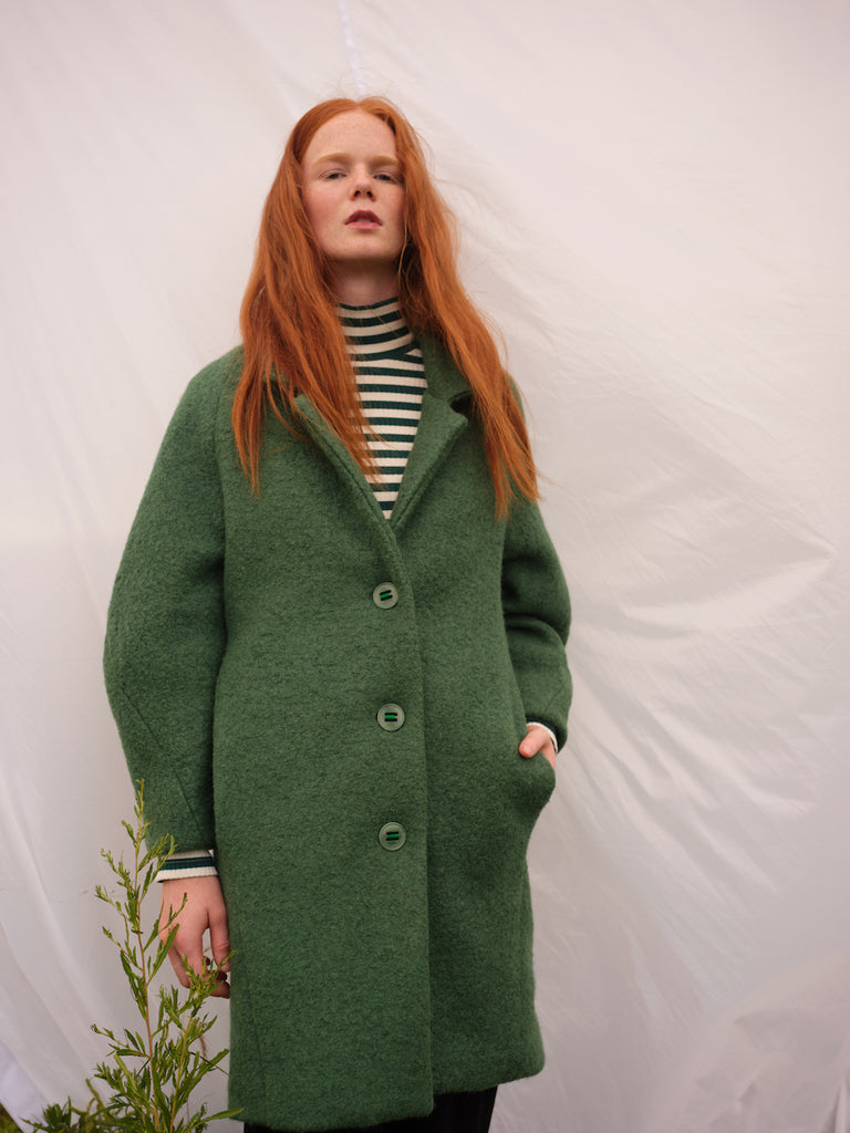 ELENA green wool coat