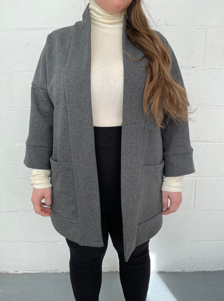 BLOOM grey kimono inspired overpiece