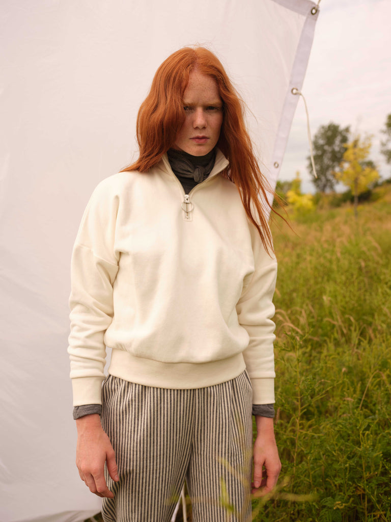 Zip-up sweatshirt | BEAUFORT | Cream | Odeyalo