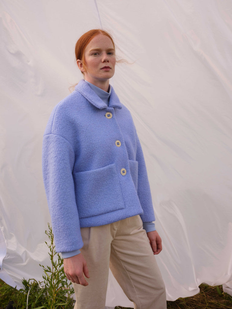 MARCONI powder blue wool coat