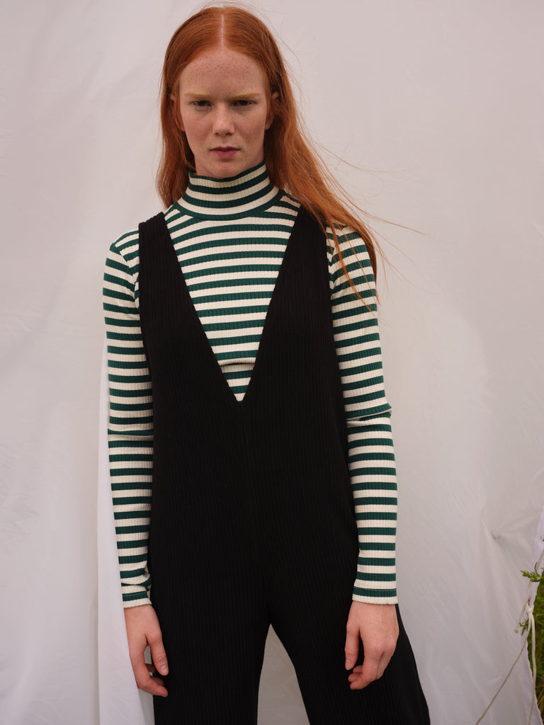 ADAMO green stripes turtleneck