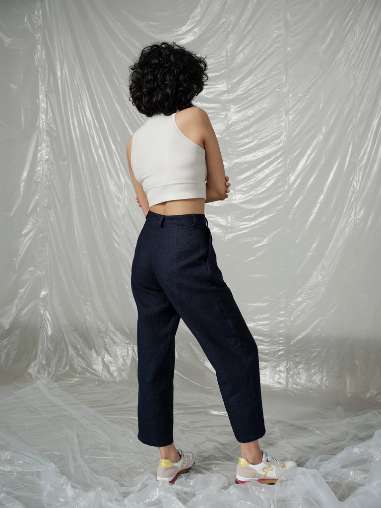 SNACK N' BLUES navy linen pant