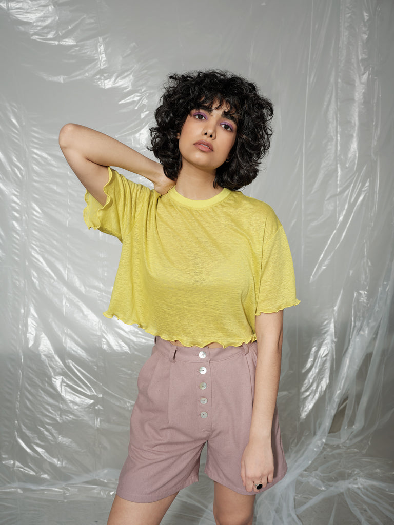 STEM vibrant yellow linen top