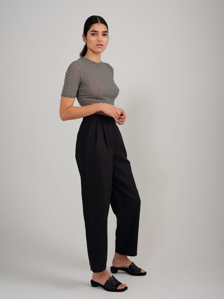SNACK N' BLUES black linen pant