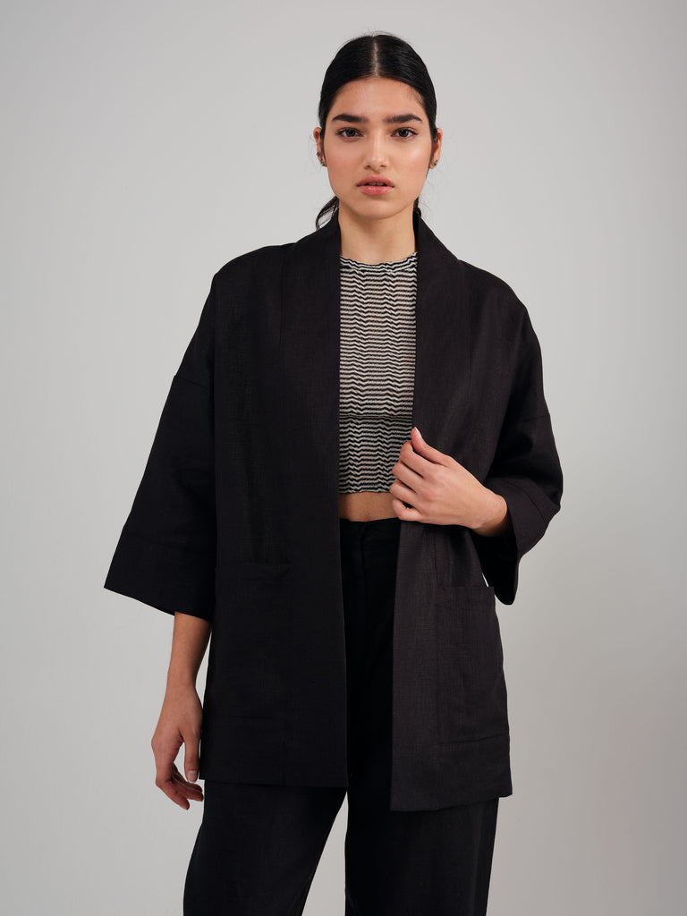 BLOOM black linen kimono inspired overpiece