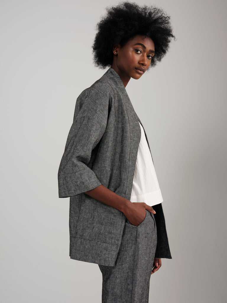 BLOOM grey linen kimono inspired overpiece
