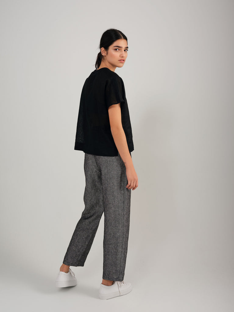 SNACK N' BLUES charcoal linen pant