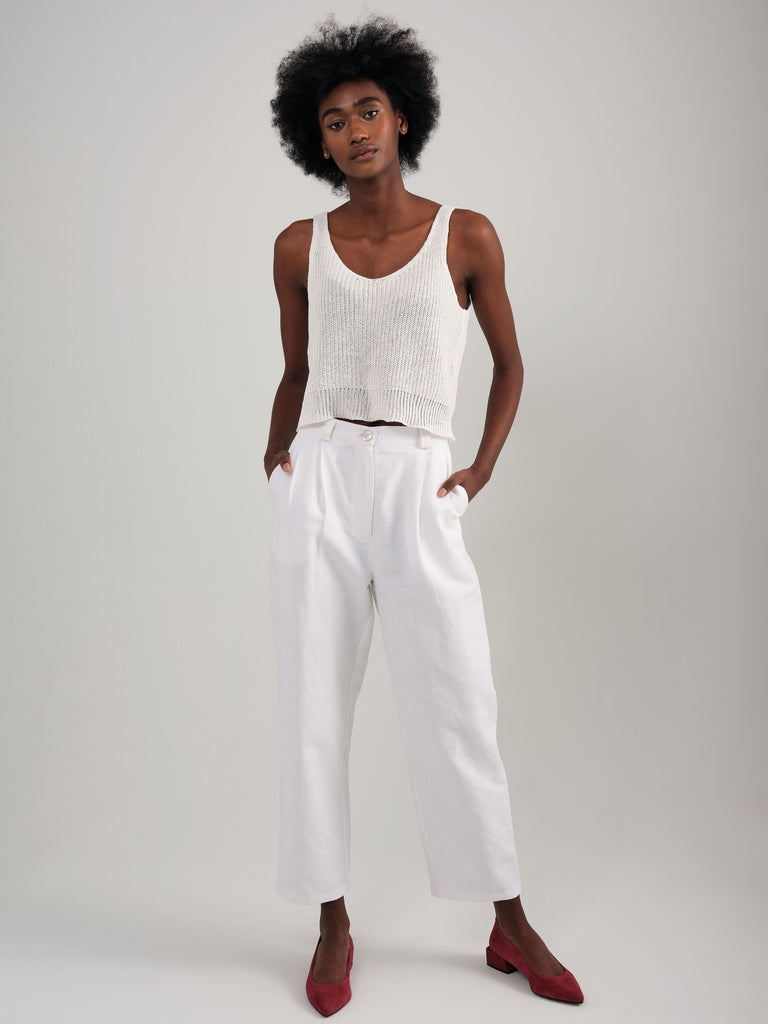 SNACK N' BLUES white linen pant