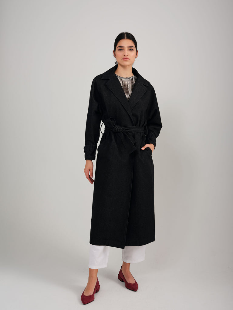 TENDRESSE black denim coat