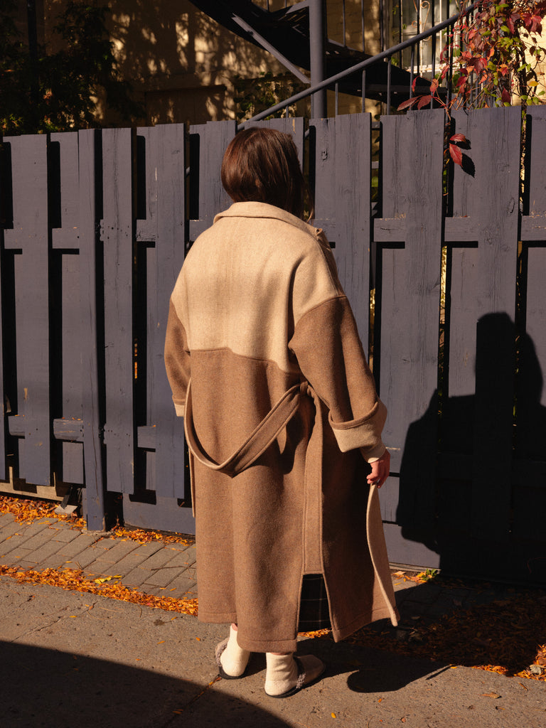 TOUSIGNANT camel colorblock trench