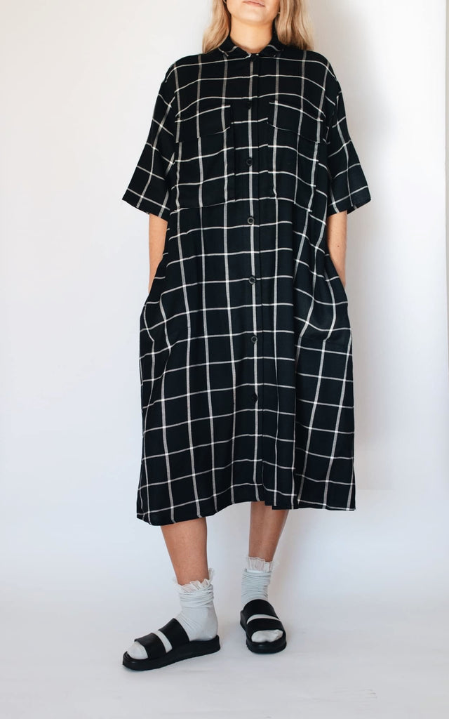 RHUBARBE plaid shirt dress