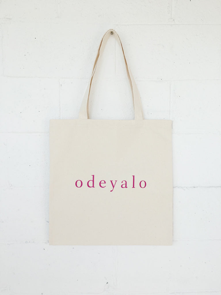 TOTE bag in natural & fuchsia