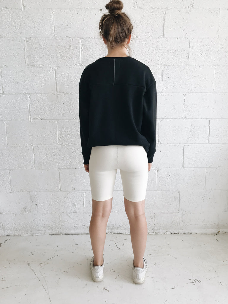 TUCK cream biker short