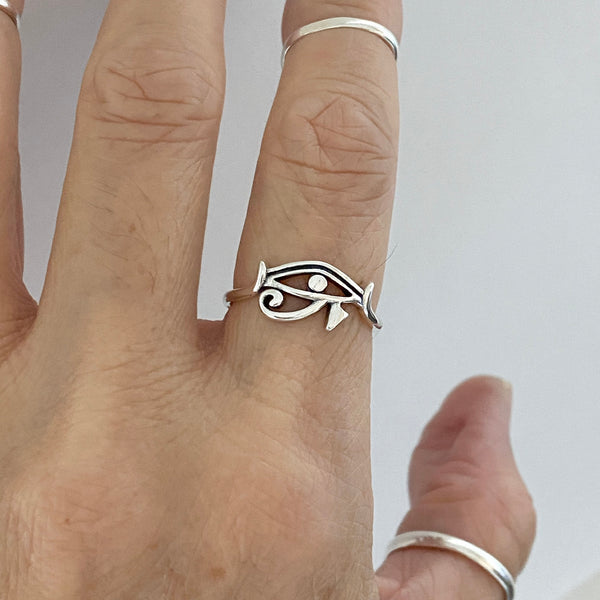 Sterling  Silver Small Eye of Ra Ring, Silver Ring, Protection Ring, Eye of Horus Ring, Religious Ring