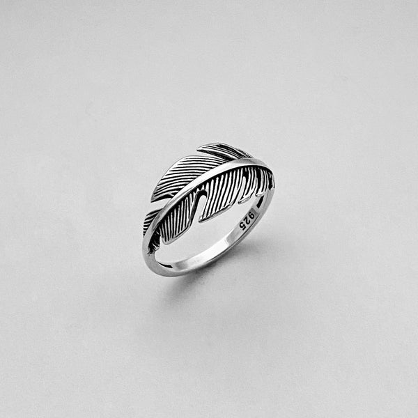 Sterling Silver Large Feather Ring, Silver Ring, Boho Ring, Angels Wing, Religious Ring